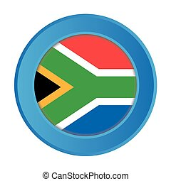 3D Button with the Flag of South Africa