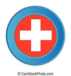 3D Button with the Flag of Switzerland