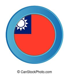 3D Button with the Flag of Taiwan