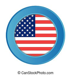 3D Button with the Flag of the United States of America
