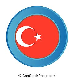 3D Button with the Flag of Turkey