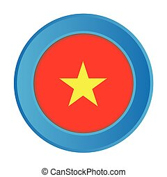 3D Button with the Flag of Vietnam