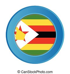 3D Button with the Flag of Zimbabwe