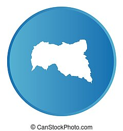 3D button with the outline of the country of Central African...