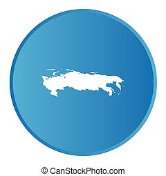 3D button with the outline of the country of Russia