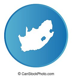 3D button with the outline of the country of South Africa
