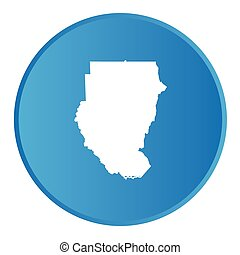 3D button with the outline of the country of Sudan