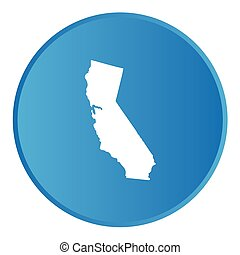 A 3D Button with the shape of American State - California