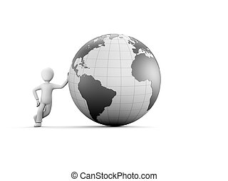 A 3d character with globe