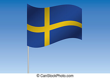 3D Flag Illustration waving in the sky of the country of Sweden