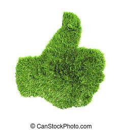 A 3d grass up hand sign
