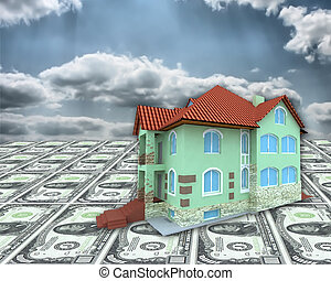 A 3D house on money and cloudy sky background
