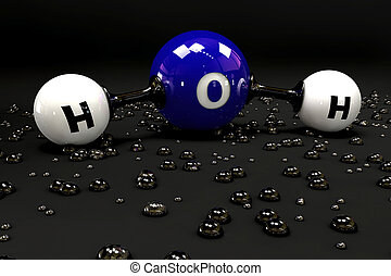 A 3D Illustration blue molecule of water on a black background