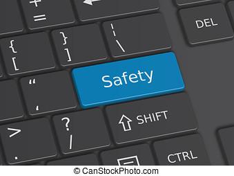 a, 3d, illustration, de, les, mot, sécurité, écrit, sur, les, clavier