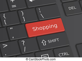 A 3D illustration of the word Shopping written on the keyboard