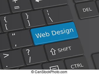 A 3D illustration of the words Web Design written on the keyboard