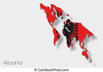 3D Isometric Flag Illustration of the country of Albania