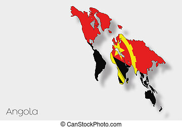 3D Isometric Flag Illustration of the country of Angola