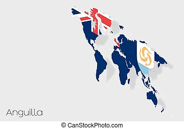3D Isometric Flag Illustration of the country of Anguilla