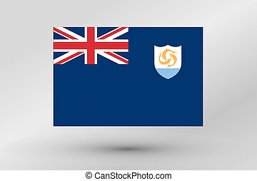 3D Isometric Flag Illustration of the country of Anguilla - ...