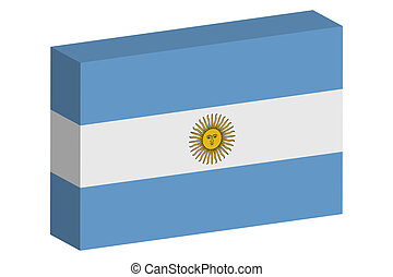 3D Isometric Flag Illustration of the country of Argentina