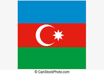 3D Isometric Flag Illustration of the country of Azerbaijan