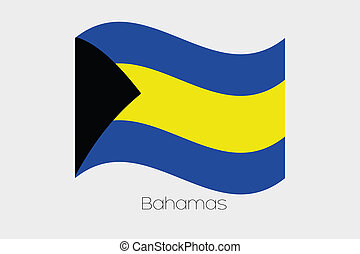 3D Isometric Flag Illustration of the country of Bahamas - A...