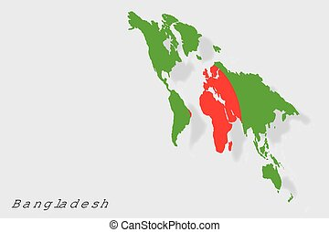3D Isometric Flag Illustration of the country of Bangladesh
