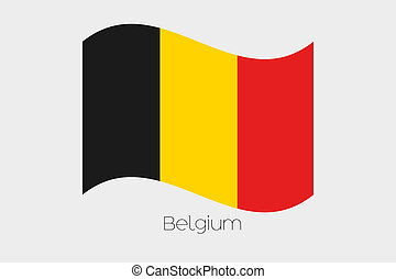 3D Isometric Flag Illustration of the country of Belgium