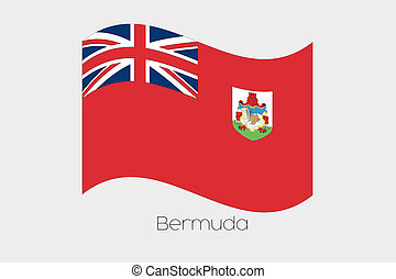 3D Isometric Flag Illustration of the country of Bermuda - A...