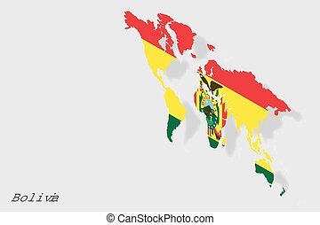3D Isometric Flag Illustration of the country of Bolivia