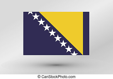 3D Isometric Flag Illustration of the country of Bosnia - A ...