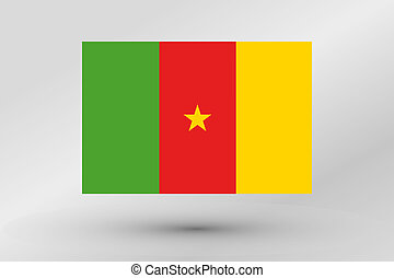 3D Isometric Flag Illustration of the country of Cameroon