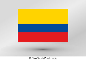 3D Isometric Flag Illustration of the country of Colombia - ...