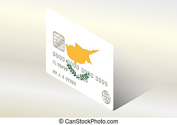 3D Isometric Flag Illustration of the country of Cyprus