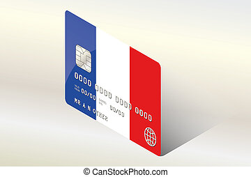 3D Isometric Flag Illustration of the country of France