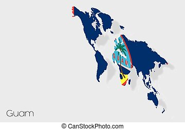 3D Isometric Flag Illustration of the country of Guam