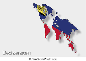 3D Isometric Flag Illustration of the country of Liechtenstein