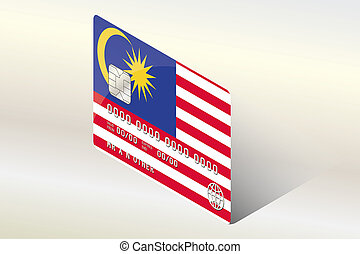3D Isometric Flag Illustration of the country of Malaysia