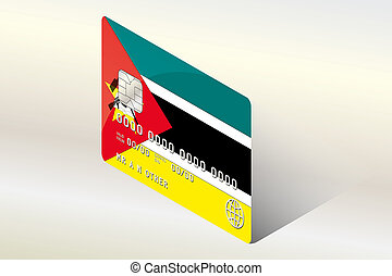 3D Isometric Flag Illustration of the country of Mozambique