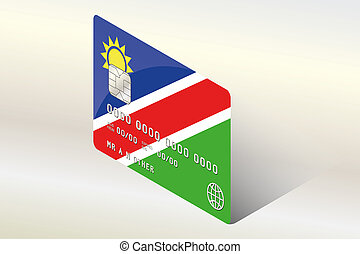 3D Isometric Flag Illustration of the country of Namibia
