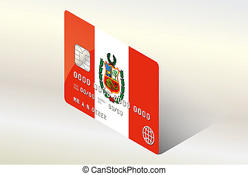 3D Isometric Flag Illustration of the country of Peru