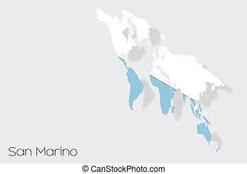 3D Isometric Flag Illustration of the country of San Marino