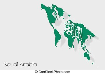 3D Isometric Flag Illustration of the country of Saudi Arabia