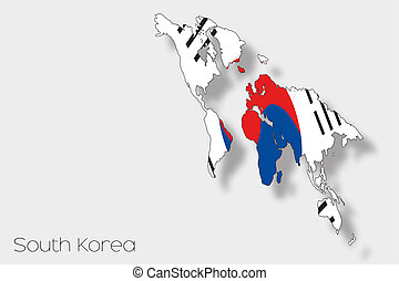 3D Isometric Flag Illustration of the country of South Korea