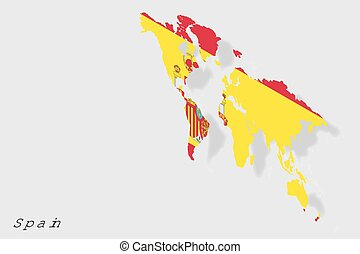 3D Isometric Flag Illustration of the country of Spain