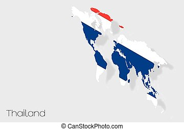 3D Isometric Flag Illustration of the country of Thailand