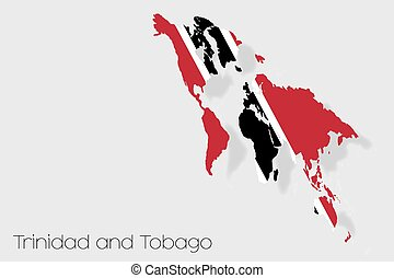 3D Isometric Flag Illustration of the country of Trinidad and Tobago