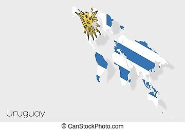 3D Isometric Flag Illustration of the country of Uruguay