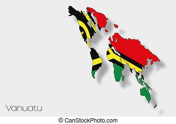 3D Isometric Flag Illustration of the country of Vanuatu